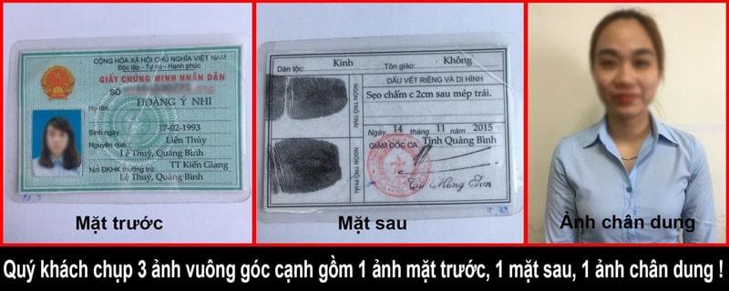 Mẫu CMND và chân dung đăng ký số điện thoại bàn công ty